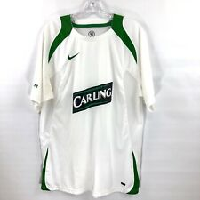 Mens CELTIC FOOTBALL CLUB Soccer Jersey NIKE Fit Dry Carling White Green Medium