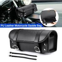 Universal Motorcycle Front Fork Tool Bag Side Saddlebag Pannier Luggage Leather