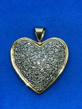 14K Yellow Gold Heart with Paved Diamonds Pendant