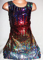 GIRLS 60s STYLE MULTI COLOUR HOLOGRAPHIC SPARKLY SEQUIN DISCO DANCE PARTY DRESS