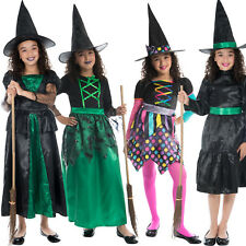 Girls Witch Costume Scary Spooky Halloween Witches Fancy Dress Outfit & Hat