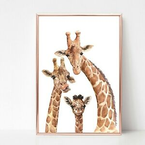 giraffe family Print picture UNFRAMED print wall art a4 colour 2 safari