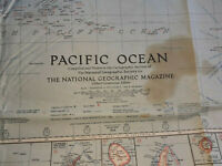 1936 National Geographic Map of Pacific Ocean Vintage Original