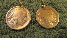 Eastern Woodlands 1 Pr. Indian Head 5 Cent Coin Earrings Silver Plated Earwires