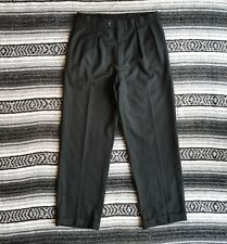 Harold Powell Sz 33 Made in Italy Super 120's Wool Pleated Dress Pants Charcoal