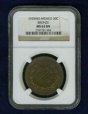 MEXICO ESTADOS UNIDOS 1935 20 CENTAVOS COIN CERTIFIED UNCIRCULATED NGC MS63-BN