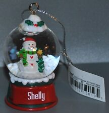 Ganz Snowman Snowglobe Ornament Personalized Shelly New With Tags