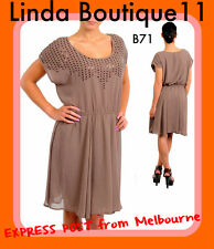 B71 New Womens Size 16 Brown Short Sleeves Sequins Party Work Office Plus Dress