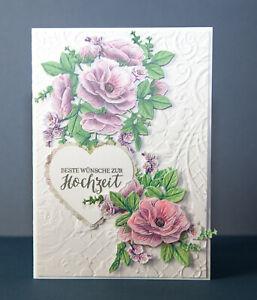 Glückwunschkarte zur Hochzeit Gruß Karten Verlobung Handarbeit edel 3d