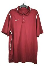 Nike Mens Red Short Sleeve White Accent Athletic Career Golf 1/4 Button Polo XL