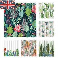 Cactus Waterproof Polyester Fabric Shower Curtain Panel Bathroom Decor + 12 Hook