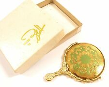 Elegant Vintage Floral Green Enamel Jell Miniature Gold Tone Vanity Mirror*Y506