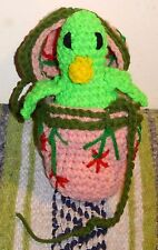 Hand-Knitted Pink Egg w/Knitted Green Duck Inside