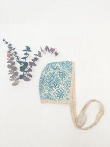 Handmade Baby Bonnet 1-2 Month Tan Blue Floral Baby Girl Hat Summer Spring