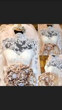 Wedding Bridal Brooch Bouquet Vintage Indian Beige Gold Unique Luxury Handmade