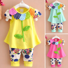 Toddler Kids Baby Girls Outfits T-shirt Shorts Pants Summer Flower Clothes Set