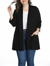 Shiaili Womens Waterfall Plus Size Cardigans Fall Open Front 3/4 Sleeve Tops