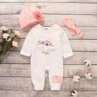 Newborn Infant Baby Bodysuit Set Outfits Hat Jumpsuit Letter Romper Girl Clothes