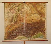 alte Schulwandkarte Süddeutschland Alpen vintage german wall map 200x174cm ~1920