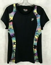 Fila Sport Athletic Top Workout Black Stretch Abstract Inset Short Sleeve Size M