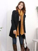 Womens Slim Double-breasted lapel Coat parka Collar Long Wool Blend Jacket Coat