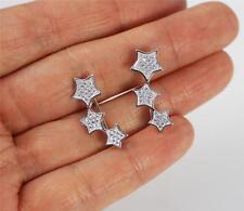 Inusual sólido 925 plata esterlina, circonia cúbica/CZ Pendientes de gancho de estrella