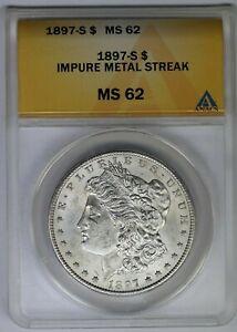 1897-S ANACS Silver Morgan Dollar MS62 Impure Metal Streak Mint Error Coin