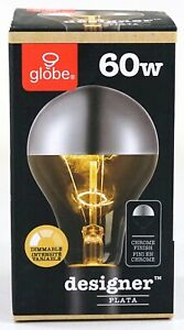 New Globe Designer Plata Dimmable Chrome Finish A 60W Edison Bulb 84001