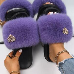 Women's Slippers Leaves Decor Furry Slides Comfortable Sandals Cozy Plush Shoes
