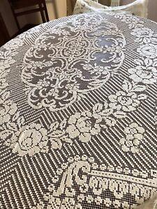 Gorgeous Antique Net Lace Tablecloth Roses