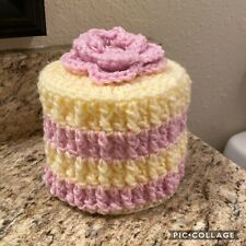 Chalk Pink & Cream Toilet Paper Roll Cover, Crochet Toilet Paper Roll Cozy