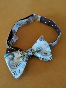 BOYS or mens' adjustable BOW TIE paisley brown white polka dot used.