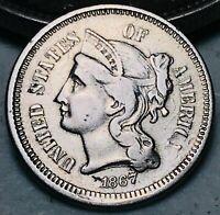 1867 Three Cent Nickel Piece 3C Higher Grade Good Date Civil War US Coin CC6145