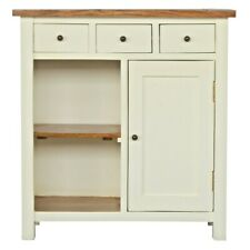 Country Two-Tone Solid Wood Cabinet 3 Drawers 2 Shelves Cupboard White/Honey
