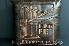 """Brooklyn Bridge Brown LEATHER PILLOW 16"""" x 16"""" RAISED IMAGE Our Exclusive Design"""