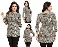 POLYCREPE BLUE BOLLYWOOD WOMEN FASHION INDIAN KURTA KURTI TUNIC TOP SHIRT SC2443