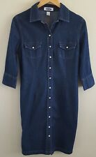 Old Navy Women's Denim Shirt Dress Size 10 Blue Pearl Snap 3/4 Sleeves