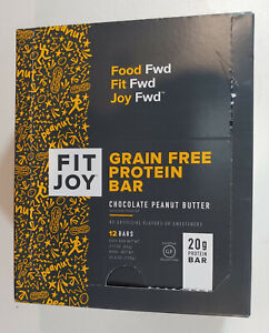 FitJoy Nutrition Grain Free Protein Bar, Chocolate Peanut Butter, 1 Box of 12