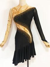 Latin Competition Dance Dress Black Tan Gold Tango Salsa Gown Custom Made ChaCha