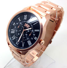 374u Men New Fashion Wrist Watch Rose Gold Strap Black Classic Chronograph Dial