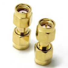 SMA male plug to RP SMA male plug straight connector - UK Seller