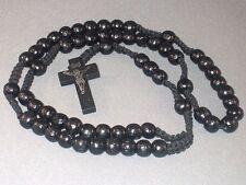 Rosary Necklace 10mm Wood Bead Macrame Imprint Crucifix BLACK Finish CLASSIC!