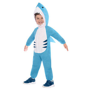 Child Great White Shark Jumpsuit Fancy Dress Costume Boy Jaws Under the Sea Fish