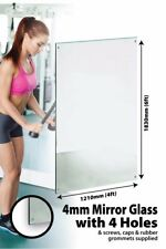 Large Mirror Glass Safety Backed With 4 Holes Home Gym 6Ft X 4Ft 183cm X 122cm