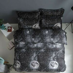 Galaxy Black Quilt Duvet Doona Cover Set Double Size Bedding Linen Pillow Cases