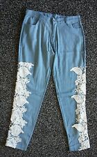 Gorgeous ladies approx size 12  blue trousers with lace sides. Bnwot NEW