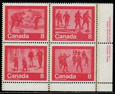 "CANADA #647a 8¢ ""Keep Fit"" Winter Sports LR Inscription Block MNH"