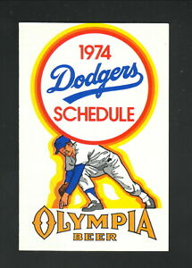 Los Angeles Dodgers--1974 Pocket Schedule--Olympia Beer