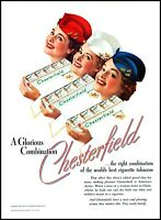 1939 3 women red white blue Chesterfield Cigarettes vintage photo Print Ad adL25