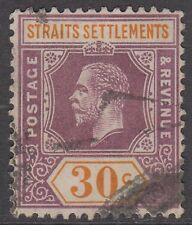 Straits Settlements KGV 30c Dull Purple and Orange SG207 Used 1914 George V